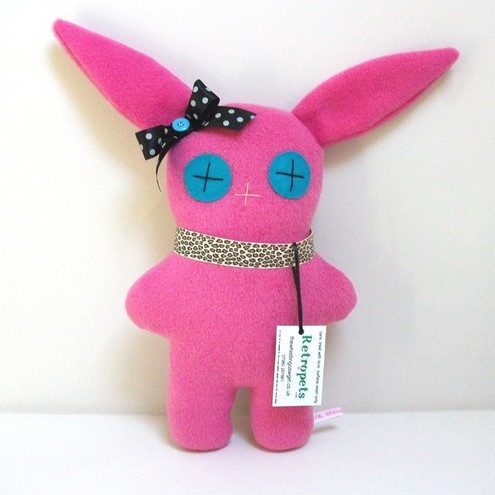 Bright Pink Bunny Rabbit Retropet, Soft Cuddly Toy with Punk Leopard Collar