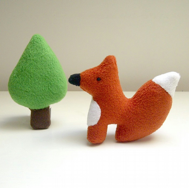 Little Fox and Tree Soft Toy Set, Fox Fleece Woodland Animal Toy Playset