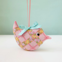 Pink Lavender Sachet Bird, Floral Trellis Fabric Decoration