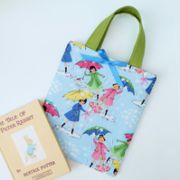 Little Book Bag, Blue Vintage Rain Girls with Umbrellas