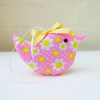 Little Lavender Bird Sachet in Neon Pink Daisy Fabric
