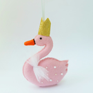 Pink Swan Felt Ornament, Gold Crown, Beads and Net