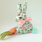 SALE Lavender Bunny Sachet with Lavender Carrot and Pom Pom Tail, Cream and Pink