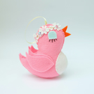 Retro Bird Felt Decoration, Bright Pink Spring or Easter Decor