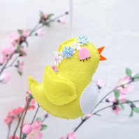 Retro Bird Felt Decoration, Bright Yellow Spring or Easter Decor