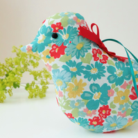 Lavender Bird, Turquoise and Red Floral Scented Sachet