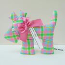 Lavender Puppy Sachet,  Neon Checked Fabric Dog