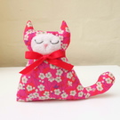 Lavender Cat, Liberty Mitsi Fabric, Hot Pink and Red
