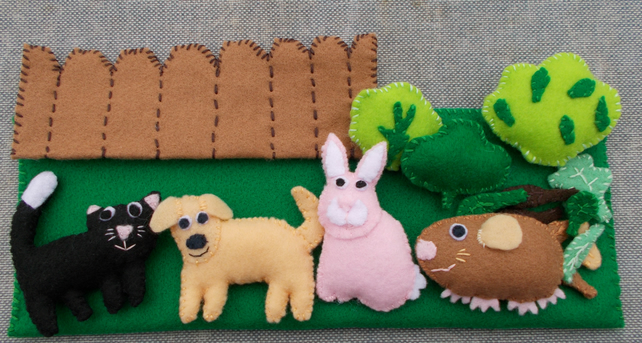Felt Pet Playset, Cat, Dog, Rabbit, Guinea Pig