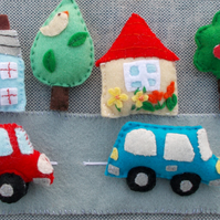 Felt Car and House Playset