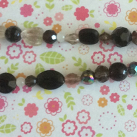 Black and Clear Glass Bead Necklace
