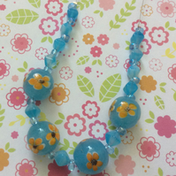 Pretty Turquoise Colour flower Bead Necklace