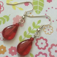 Red Silver Plate Drop Earrings Valentine