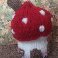 Hand Knitted Toadstool Decoration or Pin Cushion