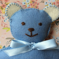 Blue Felt Teddy Bear in Sleeping Bag