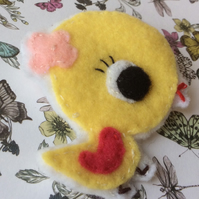 Cute Felt Yellow  Easter Chick Brooch