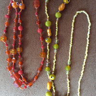 Orange and Lemon Long Beaded Necklaces