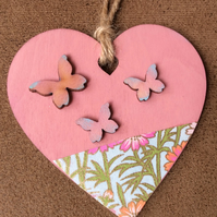 Pink Hanging wooden Heart Decoration