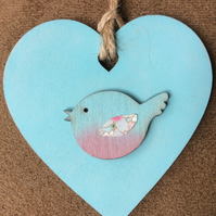Turquoise Wooden Hanging Bird Heart Decoration