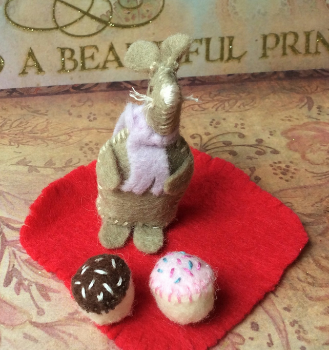 Light Brown Hand Stitched Felt Mouse with cup cakes