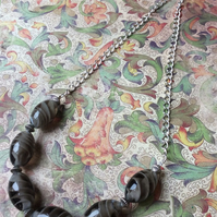 Dark Grey Glass Bead and Chain Necklace