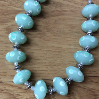 Mint Green Glass Bead and Chain Necklace