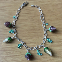 White and Purple Flower Glass Bead Charm Bracelet