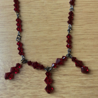 Red Swarovski bicone  Bead Necklace