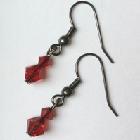 Red Swarovski Glass Bead Earrings