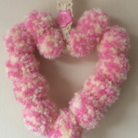 Pink and Cream Pom Pom Hanging Heart Decoration