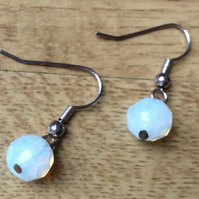 White Opaque Glass Bead Drop Earrings