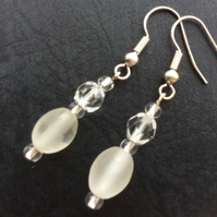 White and Clear Glass Bead Drop Earrings