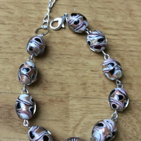 Glass Patterned Bead Bracelet