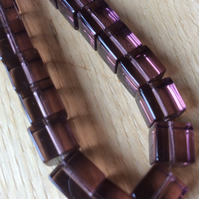 8mm Purple Cube Glass Beads x 30
