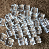 30 x 5mm Clear Glass Cube Beads Jewellery, crafts