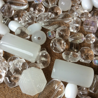 Various Glass Beads, Clear, white, opaque