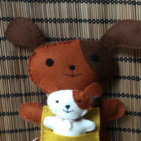 Felt Dog and Pup