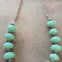 Pastel Green Bead Necklace