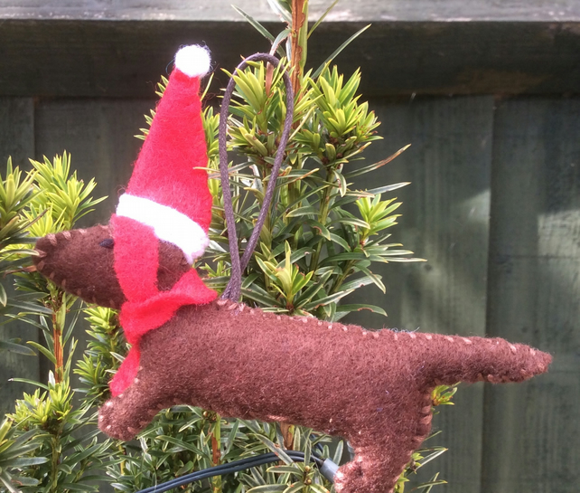 Sausage Dog Felt Hanging Christmas Decoration Folksy