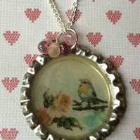 Bottle cap Vintage Style Silver Plate Robin Necklace