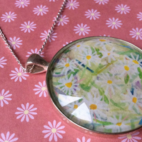 Large Glass Dome Pendant with Daisy Design