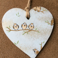 Wooden Hanging Heart Decoration with Bird Print