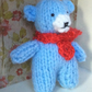 Miniature Blue Knitted Teddy Bear