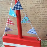 Red Wooden Bunting Boat