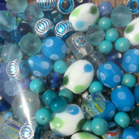 Mix of Blue Glass Beads