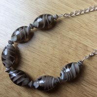 Dark Grey Glass Bead Necklace