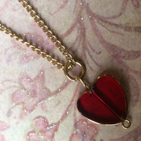 Red Glass Heart Necklace valentine , mother's day