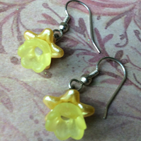 Pretty Yellow Lucite Flower Drop Earrings