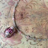 Pastel Pink Rose Lampwork Bead Pendant, Necklace