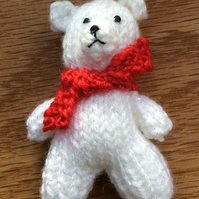 Miniature White Knitted Christmas  Teddy Bear